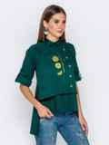 """Зеленая рубашка с рукавом-реглан и нашивкой """"лимон"""" 40856, фото 3"""