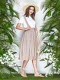 Бежевая юбка из льна на широких бретелях 22043, фото 2