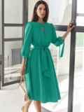 Бирюзовое платье-миди с вырезом и расклешенной юбкой 54818, фото 2