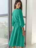 Бирюзовое платье-миди с вырезом и расклешенной юбкой 54818, фото 4