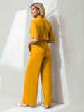 Брючный комбинезон на пуговицах и с кулиской по талии желтый 54037, фото 3