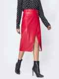 Красная юбка из эко-кожи  44110, фото 2