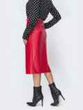 Красная юбка из эко-кожи  44110, фото 3