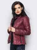 Демисезонная куртка бордового цвета без воротника 15153, фото 2