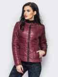 Демисезонная куртка бордового цвета без воротника 15153, фото 3