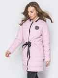 Удлиненная куртка-бомбер с кулиской на талии розовая 20245, фото 2