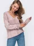 Ажурный джемпер пудрового цвета с V-образным вырезом 50374, фото 3
