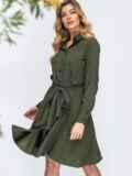Вельветовое платье-рубашка цвета хаки 44860, фото 1