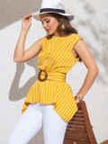 Желтая блузка в полоску с асимметричной баской 49123, фото 3