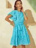 Бирюзовое платье с широким воланом по подолу 53985, фото 2