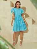 Бирюзовое платье с широким воланом по подолу 53985, фото 3