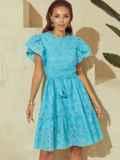 Бирюзовое платье с широким воланом по подолу 53985, фото 5