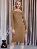 Вязаное платье бежевого цвета с фигурным вырезом  55323, фото 1