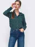 Зеленая блузка в горох с V-вырезом 49963, фото 2