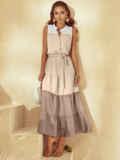 Расклешенное платье-макси без рукавов с воротником-стойкой бежевое 54255, фото 2