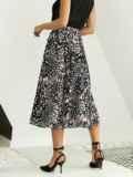 Шифоновая юбка-миди с абстрактным принтом черная 53876, фото 3