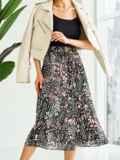Шифоновая юбка-миди с абстрактным принтом черная 53876, фото 5