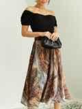 Шифоновая юбка-миди с абстрактным принтом коричневая 53877, фото 2