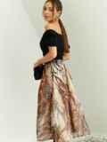 Шифоновая юбка-миди с абстрактным принтом коричневая 53877, фото 3