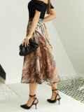 Шифоновая юбка-миди с абстрактным принтом коричневая 53877, фото 4
