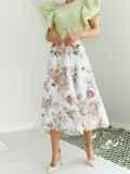 Шифоновая юбка-миди с цветочным принтом белая 53878, фото 3
