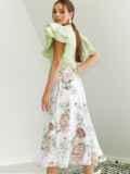 Шифоновая юбка-миди с цветочным принтом белая 53878, фото 4
