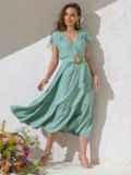 Расклешенное платье мятного цвета с воланом по низу 49368, фото 2