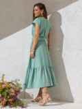 Расклешенное платье мятного цвета с воланом по низу 49368, фото 3