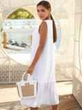 Белое платье-трапеция из хлопка без рукавов 54163, фото 4
