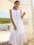 Белое платье-трапеция из хлопка без рукавов 54163, фото 2