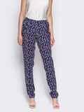 """Лёгкие брюки из штапеля тёмно-синие с принтом """"цветы"""" 10345, фото 3"""