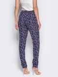 """Лёгкие брюки из штапеля тёмно-синие с принтом """"цветы"""" 10345, фото 4"""