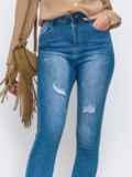 Узкие голубые джинсы с потёртостями 49418, фото 2