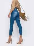 Узкие голубые джинсы с потёртостями 49418, фото 3
