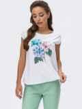 Белая блузка без рукавов с цветочным принтом 54237, фото 1