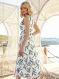 Белое платье без рукавов с принтом и V-образным вырезом 54240, фото 3