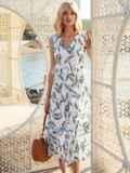 Белое платье без рукавов с принтом и V-образным вырезом 54240, фото 1