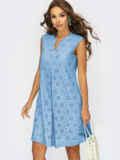 Голубое платье-трапеция со встречными складками по полочке 54337, фото 2