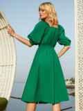 Расклешенное платье зеленого цвета с коротким рукавом 54241, фото 3
