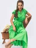 Зеленое платье с расклешенной юбкой и оборками 54243, фото 1