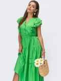 Зеленое платье с расклешенной юбкой и оборками 54243, фото 4