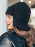 Шапка-ушанка черного цвета из шерсти кролика 55354, фото 2