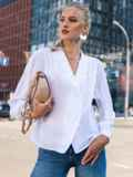 "Двубортная блузка с рукавом ""летучая мышь"" белая 49687, фото 4"