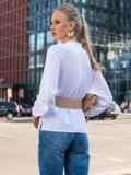 "Двубортная блузка с рукавом ""летучая мышь"" белая 49687, фото 5"