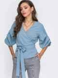 Голубая блузка на запах с объемными рукавами 51181, фото 2