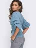 Голубая блузка на запах с объемными рукавами 51181, фото 3