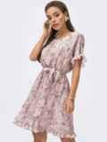 Пудровое платье из шифона с принтом и юбкой-клеш 53698, фото 2