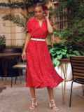 Красное платье в горох с коротким рукавом и расклешенной юбкой 54473, фото 3