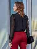 """Чёрная блузка с вырезом """"замочная скважина"""" 40071, фото 3"""