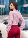 Пудровая блузка в горох с воротником-аскот 41698, фото 2